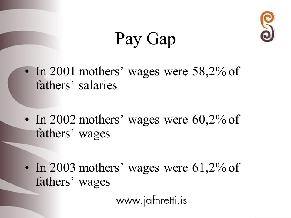 Pay Gap In 2001 mothers' wages were 58,2% of fathers' salaries In 2002 mothers' wages were 60,2% of fathers' wages In 2003 mothers' wages were 61,2% of fathers' wages