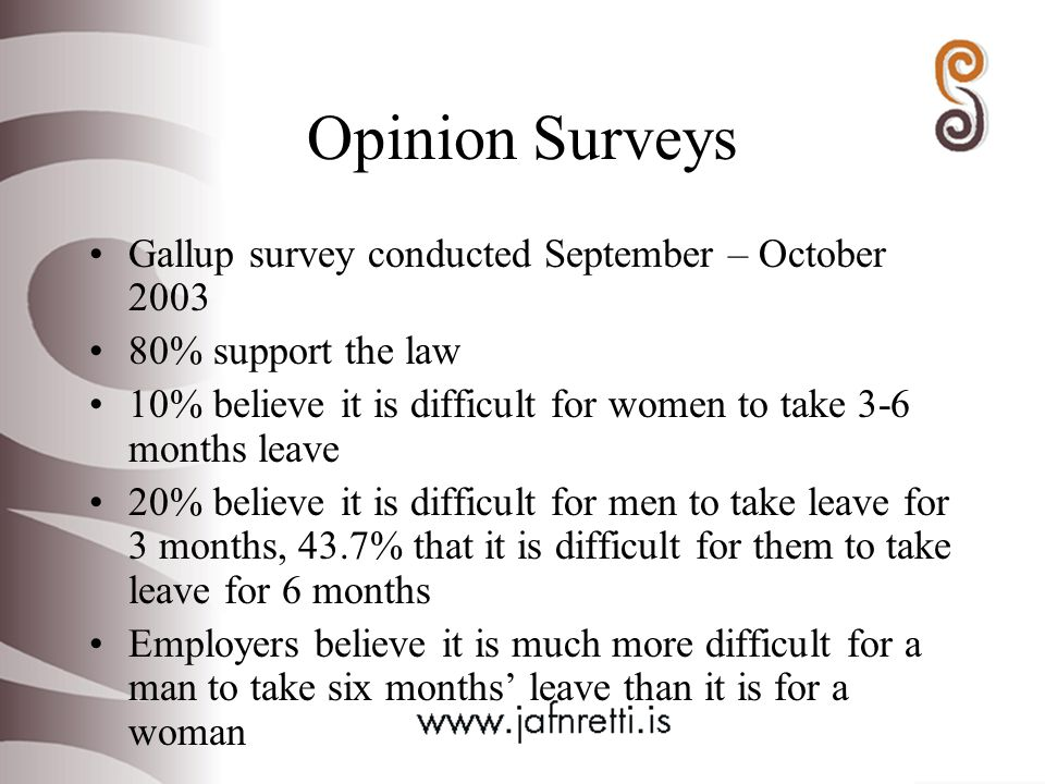Opinion Surveys Gallup survey conducted September – October % support the law 10% believe it is difficult for women to take 3-6 months leave 20% believe it is difficult for men to take leave for 3 months, 43.7% that it is difficult for them to take leave for 6 months Employers believe it is much more difficult for a man to take six months' leave than it is for a woman
