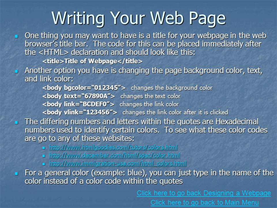 Writing a web page