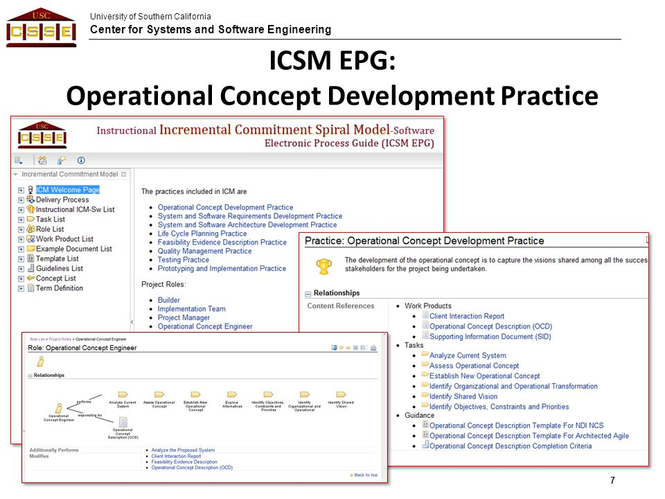 University of Southern California Center for Systems and Software Engineering ICSM EPG: Operational Concept Development Practice 7