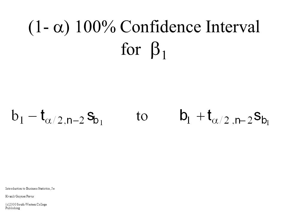 (1-  ) 100% Confidence Interval for  1 Introduction to Business Statistics, 5e Kvanli/Guynes/Pavur (c)2000 South-Western College Publishing