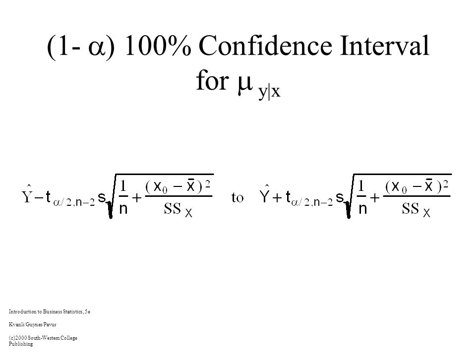 (1-  ) 100% Confidence Interval for  y|x Introduction to Business Statistics, 5e Kvanli/Guynes/Pavur (c)2000 South-Western College Publishing