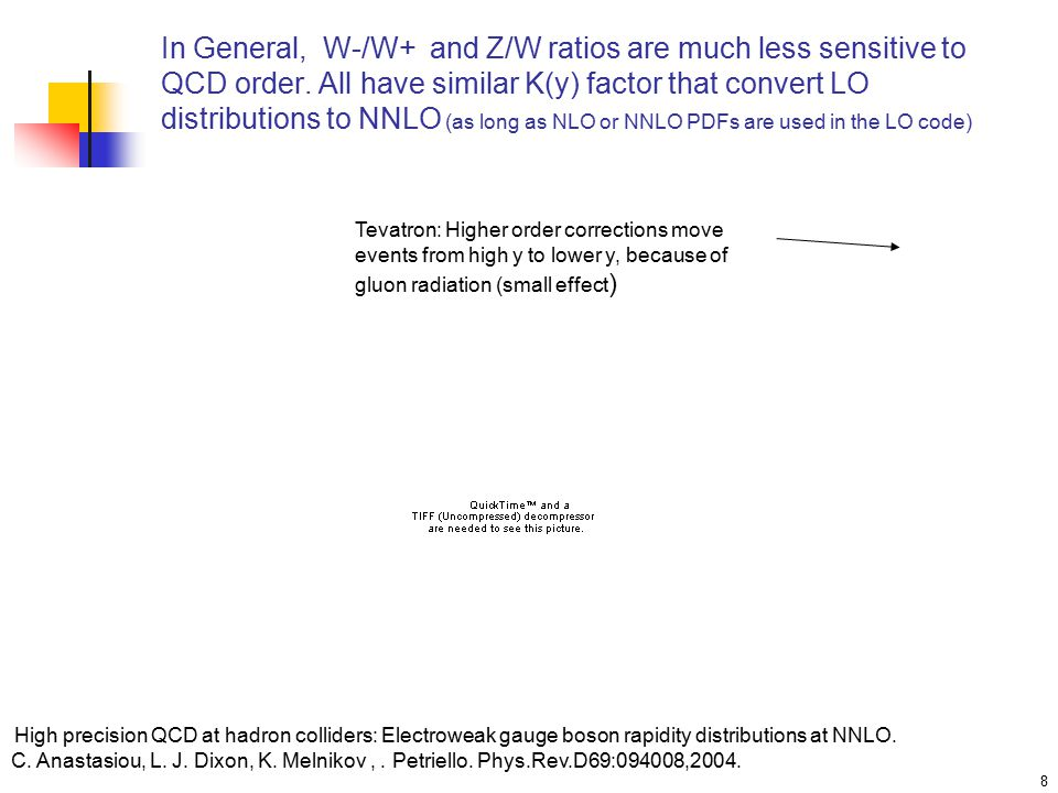 8 In General, W-/W+ and Z/W ratios are much less sensitive to QCD order.