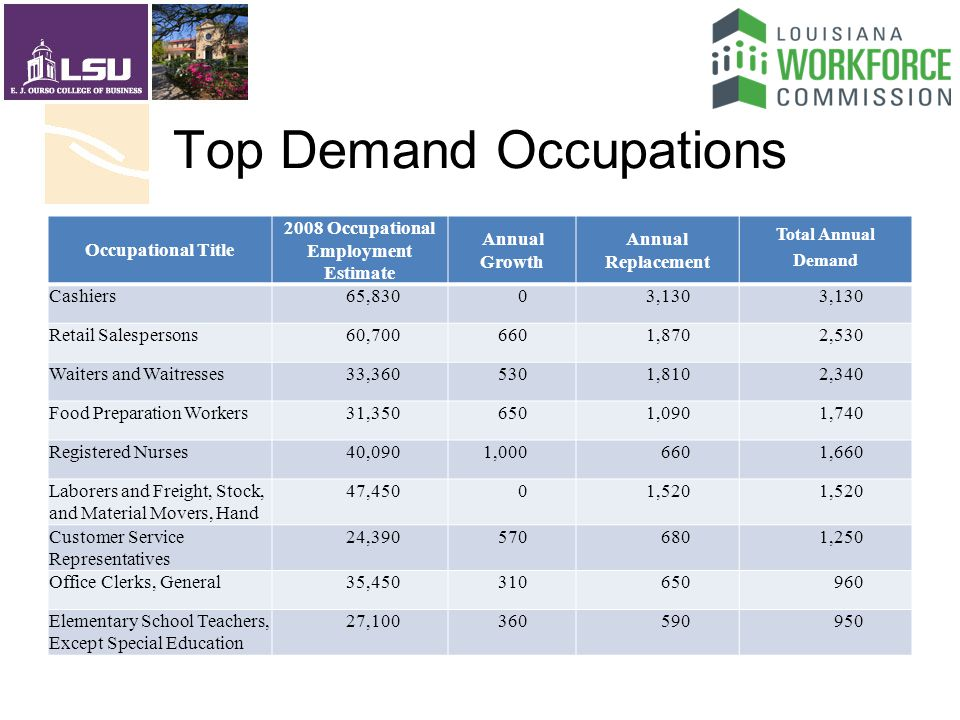 Top Demand Occupations Occupational Title 2008 Occupational Employment Estimate Annual Growth Annual Replacement Total Annual Demand Cashiers65,83003,130 Retail Salespersons60, ,8702,530 Waiters and Waitresses33, ,8102,340 Food Preparation Workers31, ,0901,740 Registered Nurses40,0901, ,660 Laborers and Freight, Stock, and Material Movers, Hand 47,45001,520 Customer Service Representatives 24, ,250 Office Clerks, General35, Elementary School Teachers, Except Special Education 27,