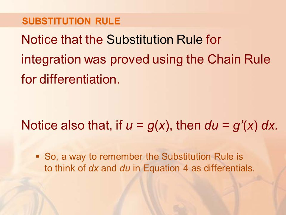 SUBSTITUTION RULE Notice that the Substitution Rule for integration was proved using the Chain Rule for differentiation.