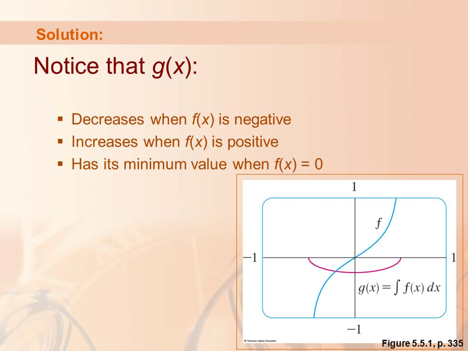 Solution: Notice that g(x):  Decreases when f(x) is negative  Increases when f(x) is positive  Has its minimum value when f(x) = 0 Figure 5.5.1, p.