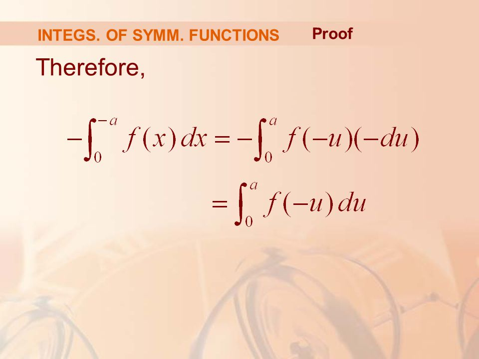 Therefore, Proof INTEGS. OF SYMM. FUNCTIONS