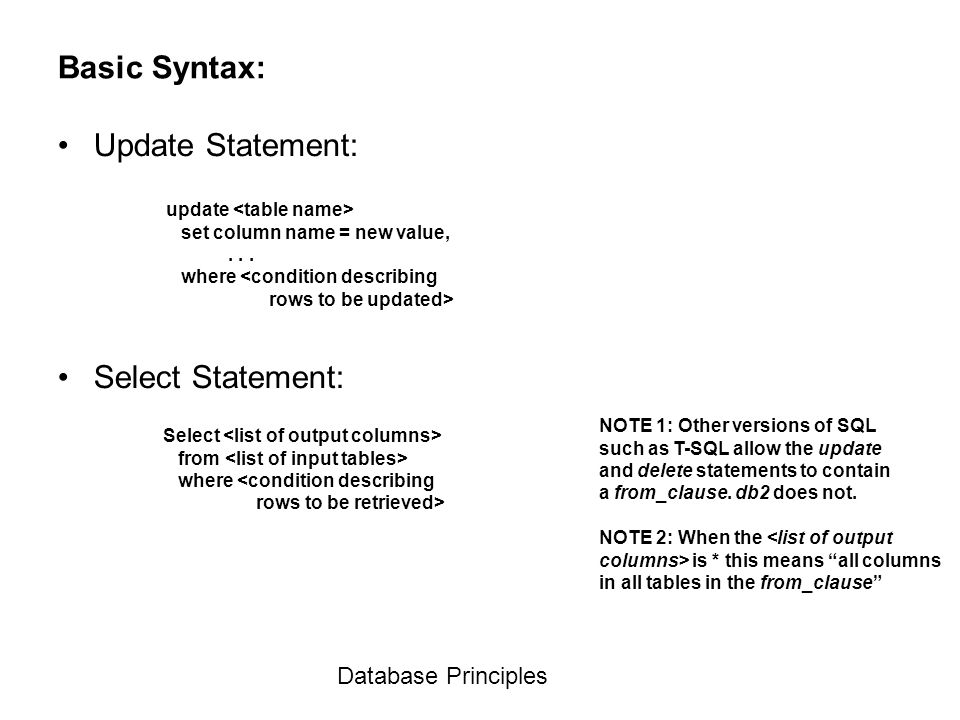 Database Principles Basic Syntax: Update Statement: Select Statement: update  set column name =