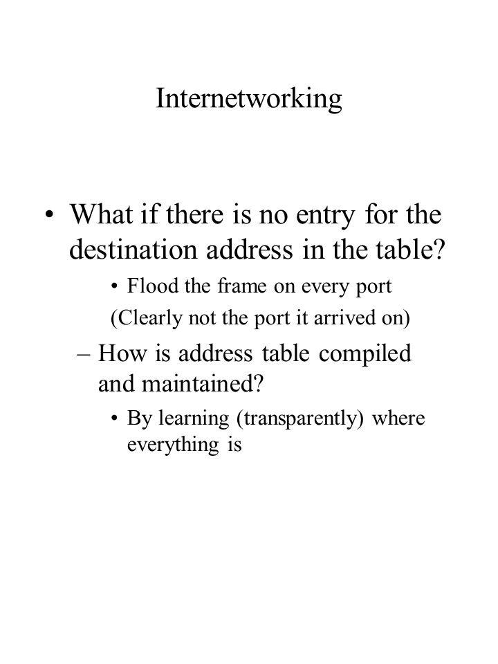 Internetworking What if there is no entry for the destination address in the table.