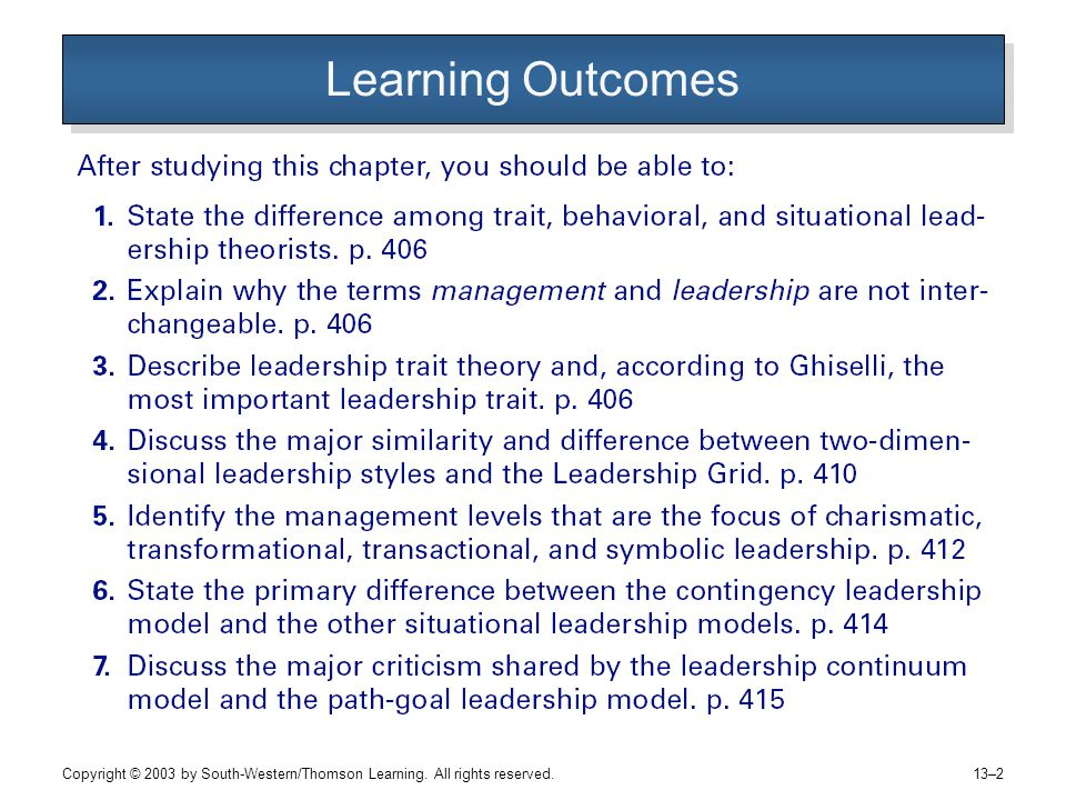 Copyright © 2003 by South-Western/Thomson Learning. All rights reserved. 13–2 Learning Outcomes