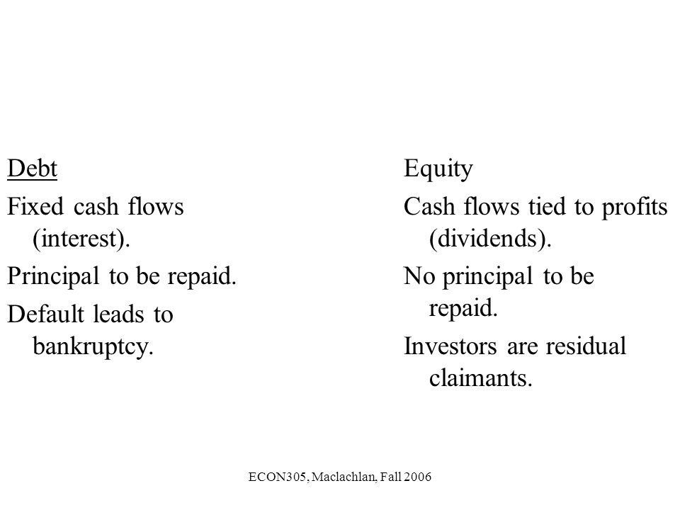 ECON305, Maclachlan, Fall 2006 Debt Fixed cash flows (interest).