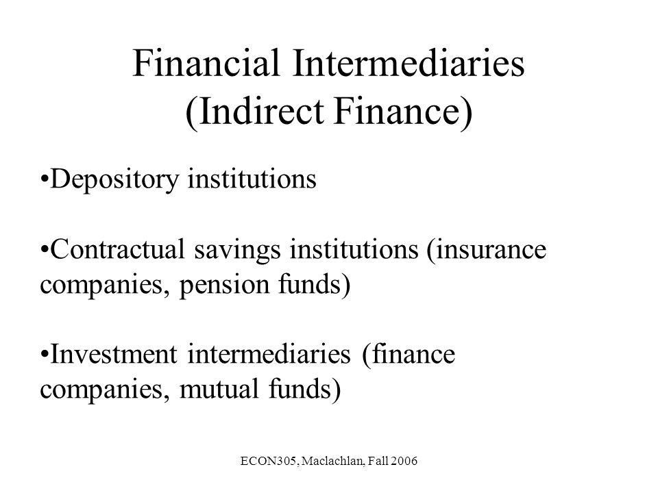 ECON305, Maclachlan, Fall 2006 Financial Intermediaries (Indirect Finance) Depository institutions Contractual savings institutions (insurance companies, pension funds) Investment intermediaries (finance companies, mutual funds)