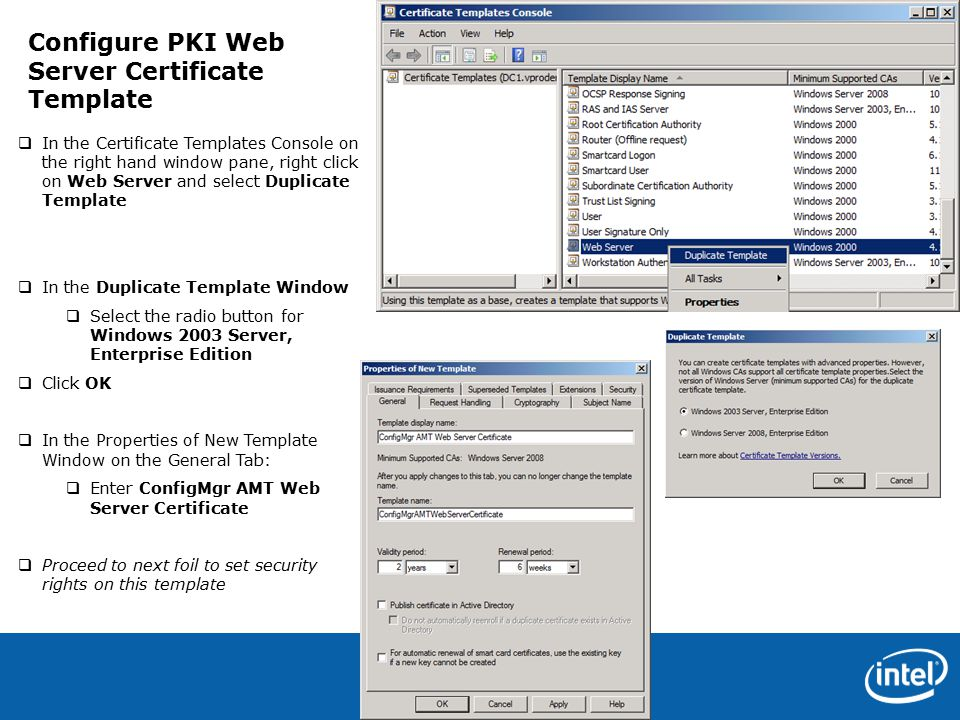 Intel confidential 1 configure pki web server certificates for 5 intel confidential 5 in the certificate templates console on the right hand window yadclub Gallery