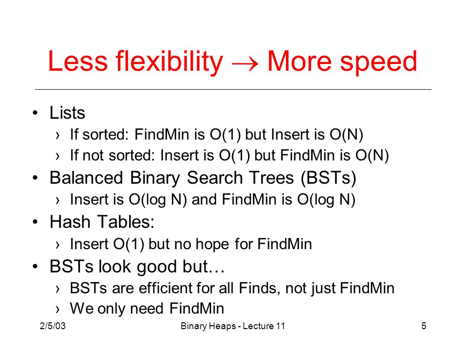 2/5/03Binary Heaps - Lecture 115 Less flexibility  More speed Lists ›If sorted: FindMin is O(1) but Insert is O(N) ›If not sorted: Insert is O(1) but FindMin is O(N) Balanced Binary Search Trees (BSTs) ›Insert is O(log N) and FindMin is O(log N) Hash Tables: ›Insert O(1) but no hope for FindMin BSTs look good but… ›BSTs are efficient for all Finds, not just FindMin ›We only need FindMin