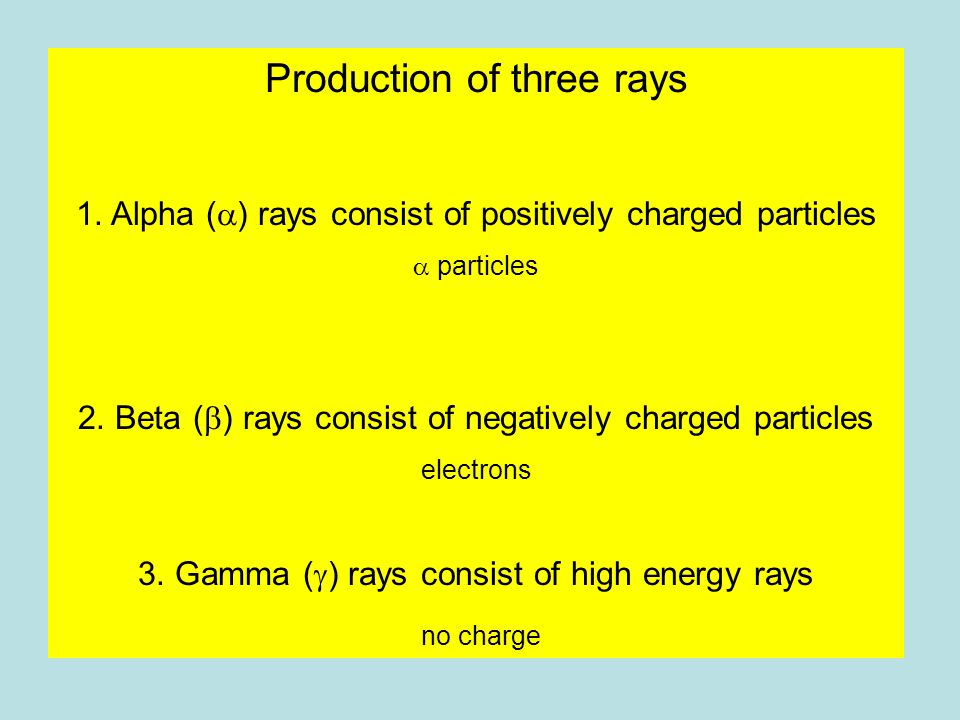 Production of three rays 1. Alpha (  ) rays consist of positively charged particles  particles 2.