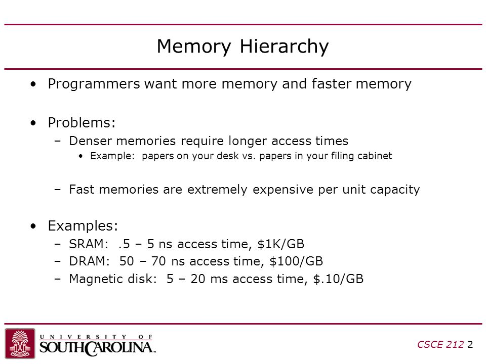 CSCE Memory Hierarchy Programmers want more memory and faster memory Problems: –Denser memories require longer access times Example: papers on your desk vs.