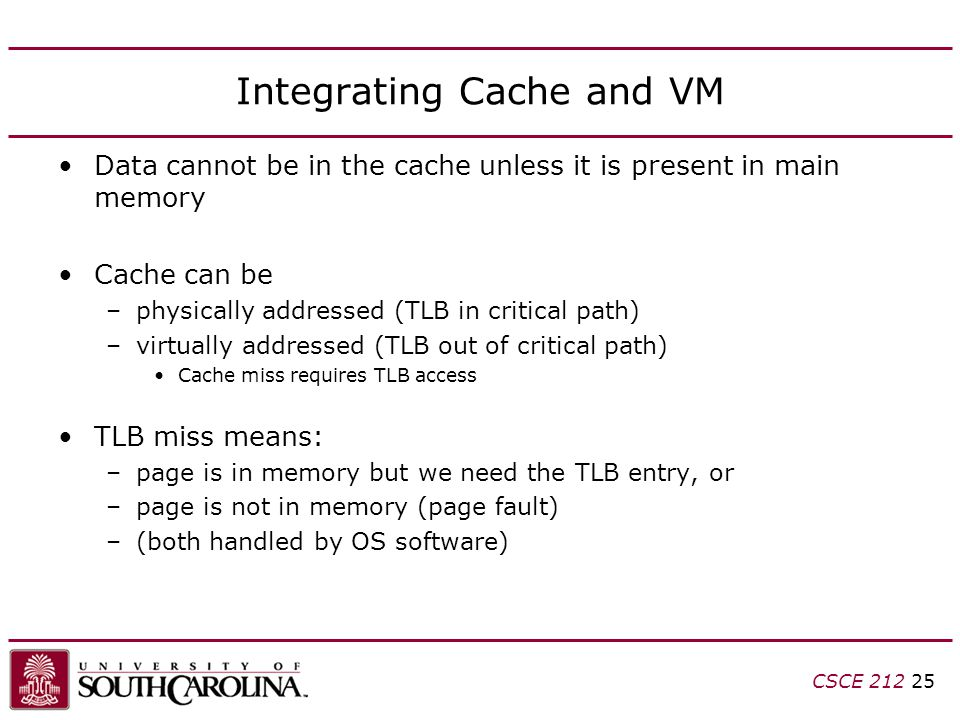 CSCE Integrating Cache and VM Data cannot be in the cache unless it is present in main memory Cache can be –physically addressed (TLB in critical path) –virtually addressed (TLB out of critical path) Cache miss requires TLB access TLB miss means: –page is in memory but we need the TLB entry, or –page is not in memory (page fault) –(both handled by OS software)