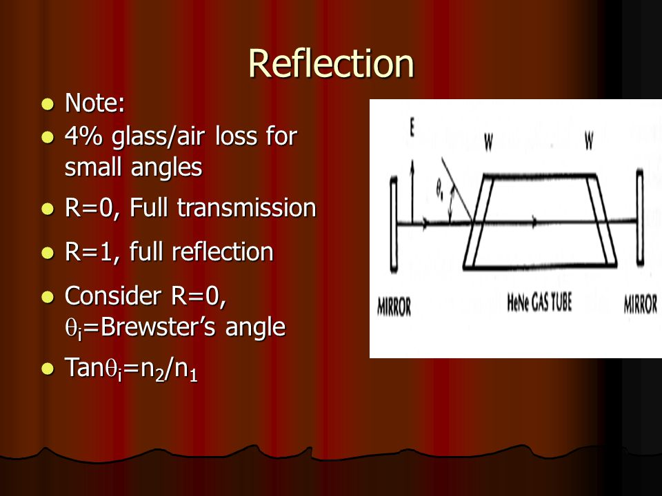 Reflection Note: Note: 4% glass/air loss for small angles 4% glass/air loss for small angles R=0, Full transmission R=0, Full transmission R=1, full reflection R=1, full reflection Consider R=0,  i =Brewster's angle Consider R=0,  i =Brewster's angle Tan  i =n 2 /n 1 Tan  i =n 2 /n 1