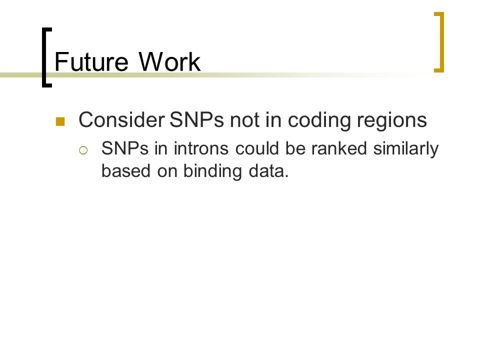 Future Work Consider SNPs not in coding regions  SNPs in introns could be ranked similarly based on binding data.