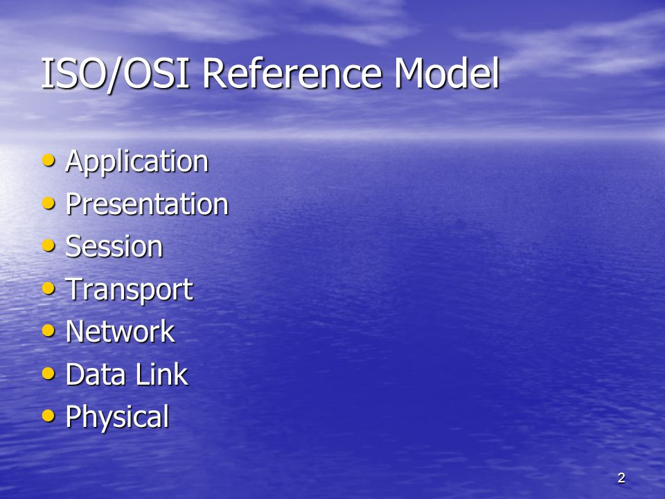 2 ISO/OSI Reference Model Application Application Presentation Presentation Session Session Transport Transport Network Network Data Link Data Link Physical Physical
