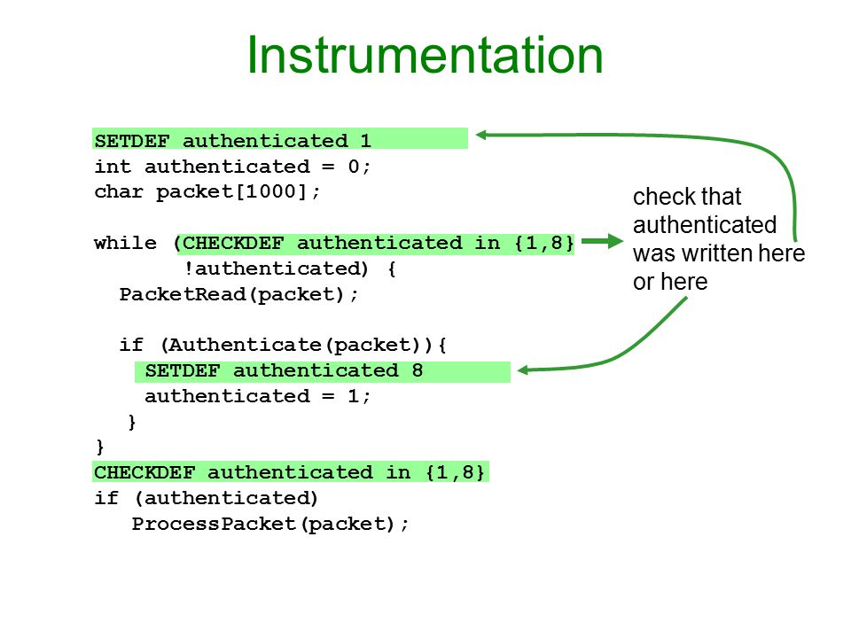 Instrumentation check that authenticated was written here or here SETDEF authenticated 1 int authenticated = 0; char packet[1000]; while (CHECKDEF authenticated in {1,8} !authenticated) { PacketRead(packet); if (Authenticate(packet)){ SETDEF authenticated 8 authenticated = 1; } CHECKDEF authenticated in {1,8} if (authenticated) ProcessPacket(packet);