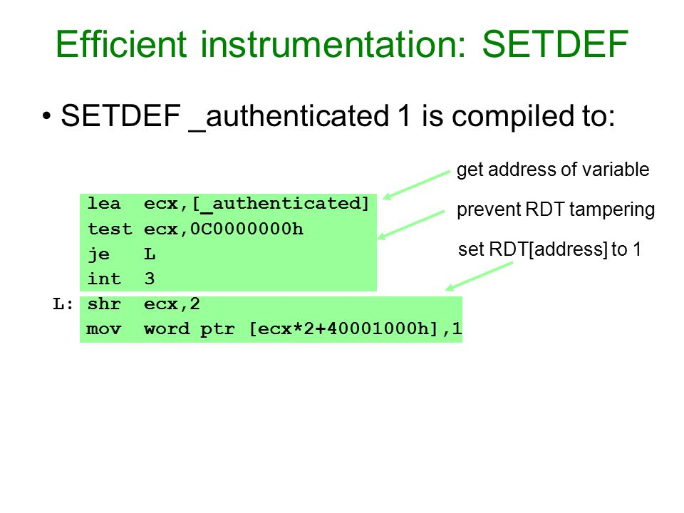 Efficient instrumentation: SETDEF lea ecx,[_authenticated] test ecx,0C h je L int 3 L: shr ecx,2 mov word ptr [ecx* h],1 SETDEF _authenticated 1 is compiled to: get address of variable prevent RDT tampering set RDT[address] to 1