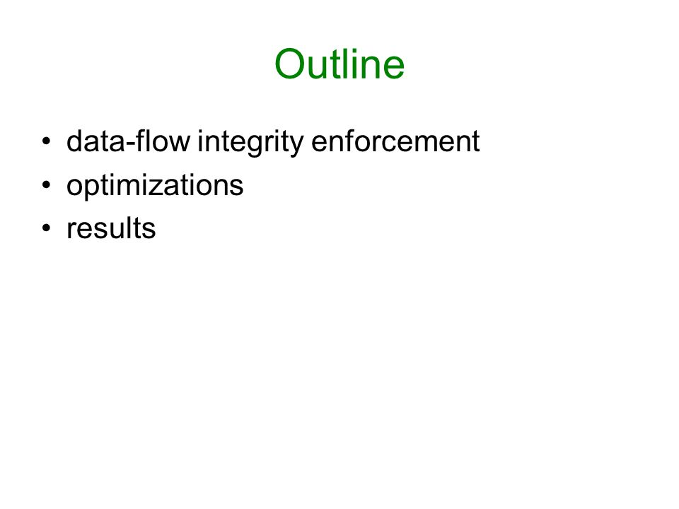 Outline data-flow integrity enforcement optimizations results