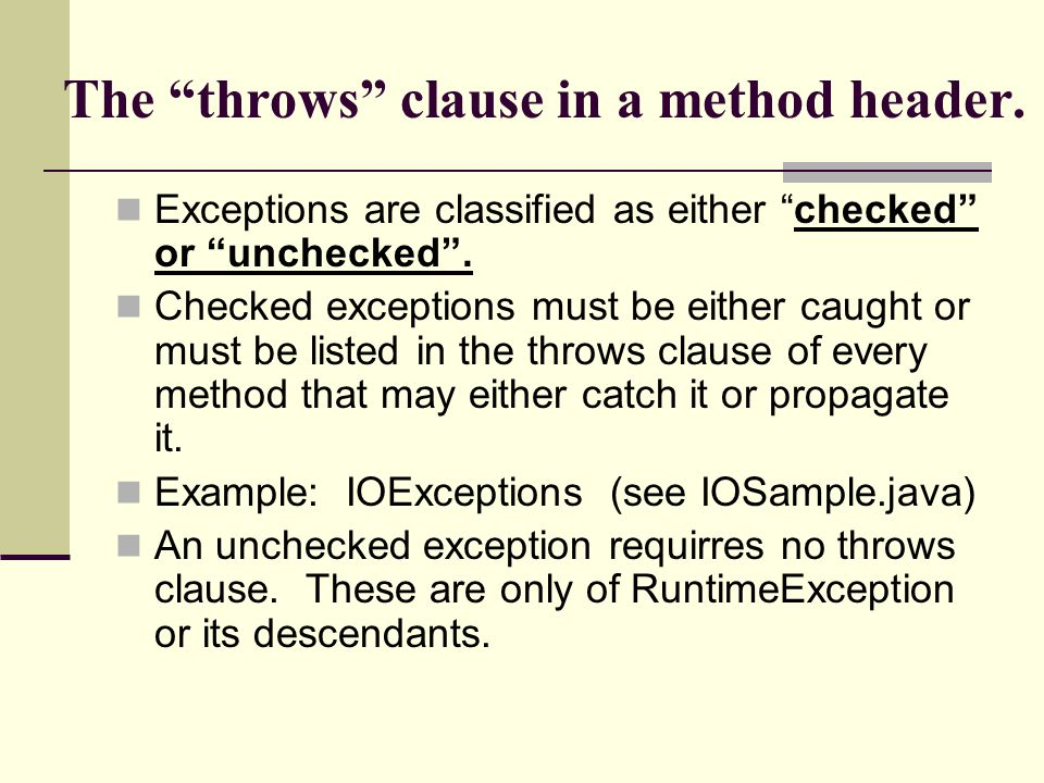 The throws clause in a method header.