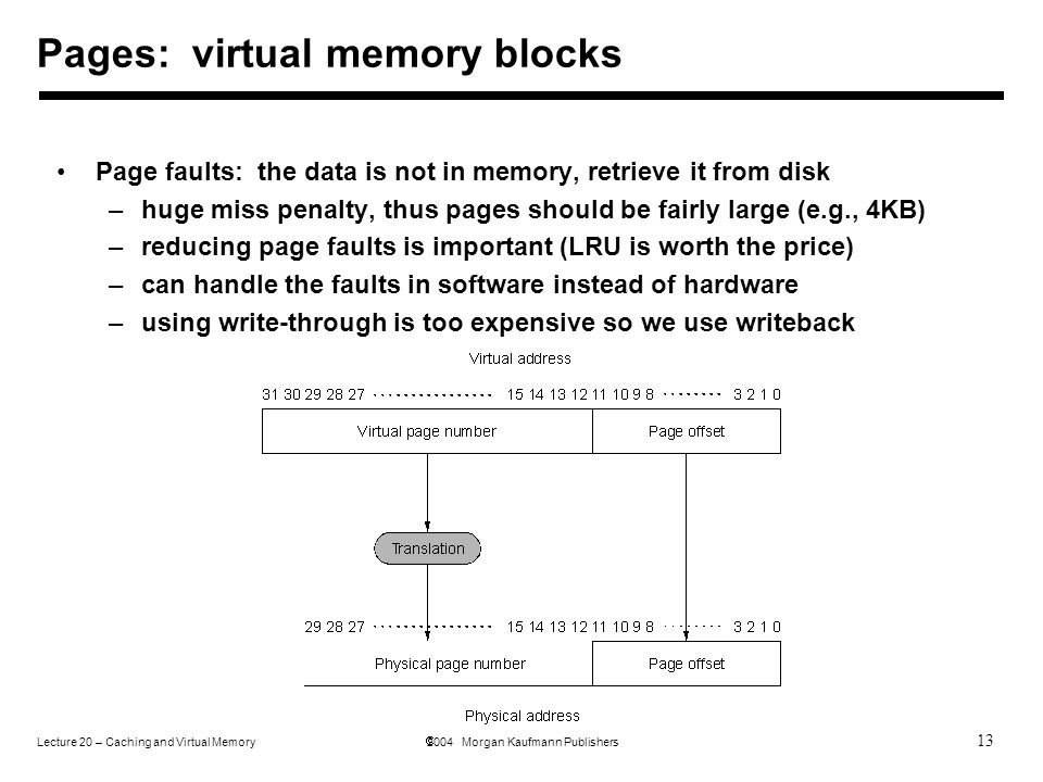 13 Lecture 20 – Caching and Virtual Memory  2004 Morgan Kaufmann Publishers Pages: virtual memory blocks Page faults: the data is not in memory, retrieve it from disk –huge miss penalty, thus pages should be fairly large (e.g., 4KB) –reducing page faults is important (LRU is worth the price) –can handle the faults in software instead of hardware –using write-through is too expensive so we use writeback