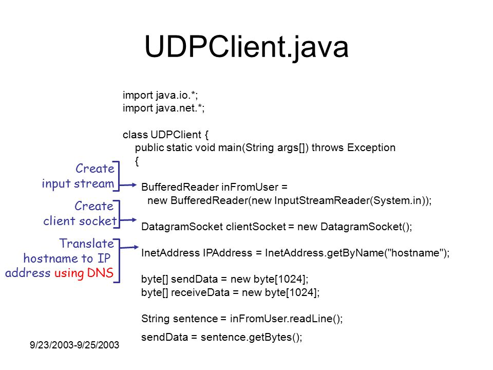 9/23/2003-9/25/2003 UDPClient.java import java.io.*; import java.net.*; class UDPClient { public static void main(String args[]) throws Exception { BufferedReader inFromUser = new BufferedReader(new InputStreamReader(System.in)); DatagramSocket clientSocket = new DatagramSocket(); InetAddress IPAddress = InetAddress.getByName( hostname ); byte[] sendData = new byte[1024]; byte[] receiveData = new byte[1024]; String sentence = inFromUser.readLine(); sendData = sentence.getBytes(); Create input stream Create client socket Translate hostname to IP address using DNS