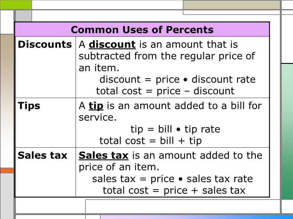 Wednesday December 7th Please take out your HW worksheet and – Percent Discount Worksheet