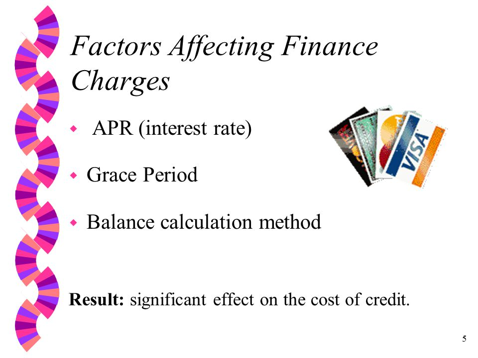 5 Factors Affecting Finance Charges w APR (interest rate) w Grace Period w Balance calculation method Result: significant effect on the cost of credit.