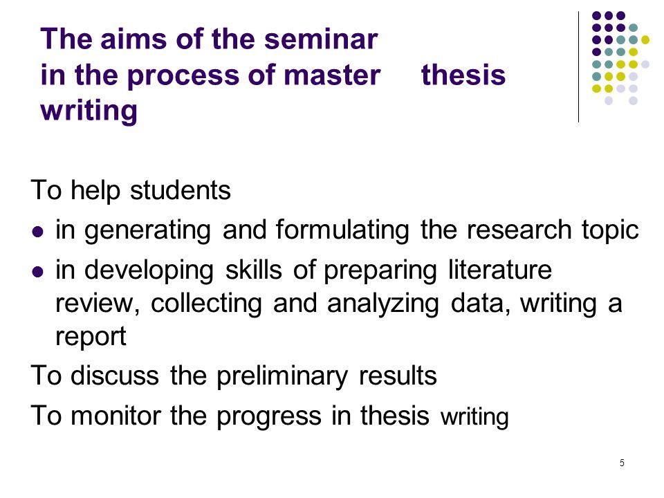 Master thesis aim