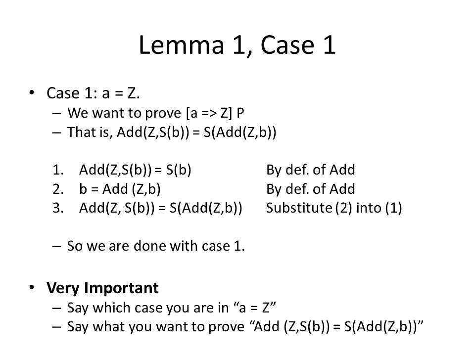 Lemma 1, Case 1 Case 1: a = Z.