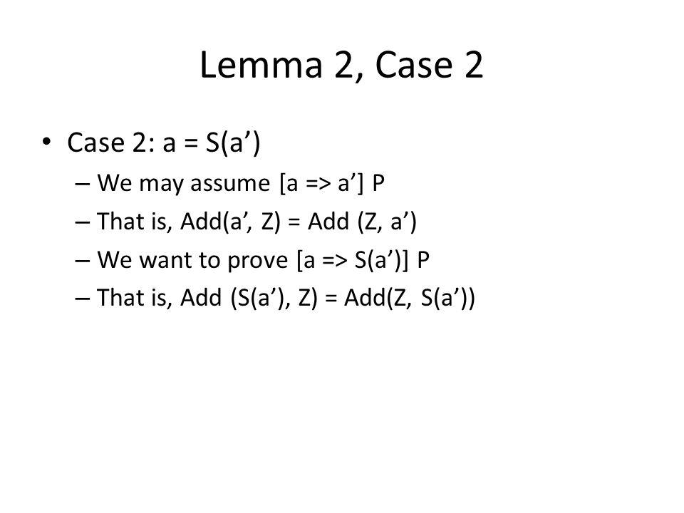 Lemma 2, Case 2 Case 2: a = S(a') – We may assume [a => a'] P – That is, Add(a', Z) = Add (Z, a') – We want to prove [a => S(a')] P – That is, Add (S(a'), Z) = Add(Z, S(a'))