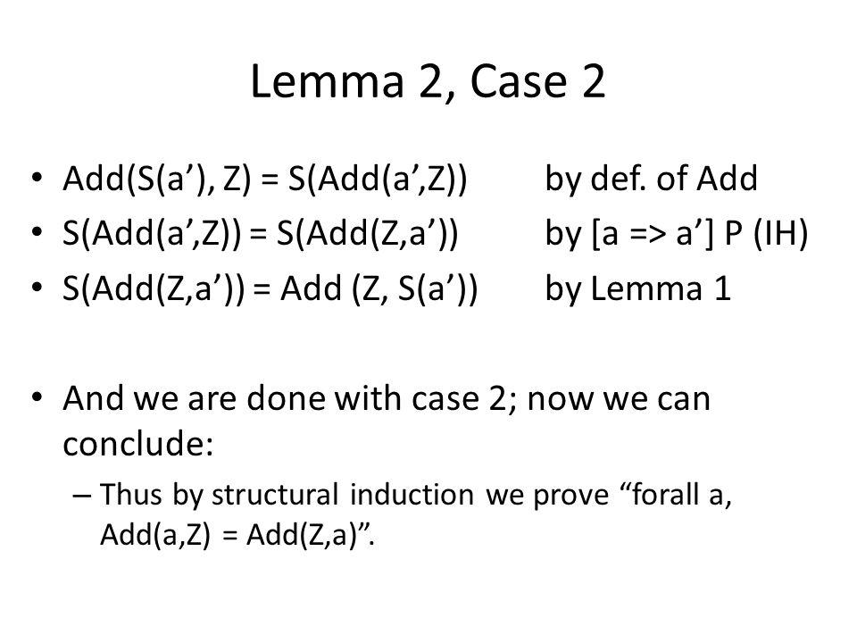 Lemma 2, Case 2 Add(S(a'), Z) = S(Add(a',Z))by def.