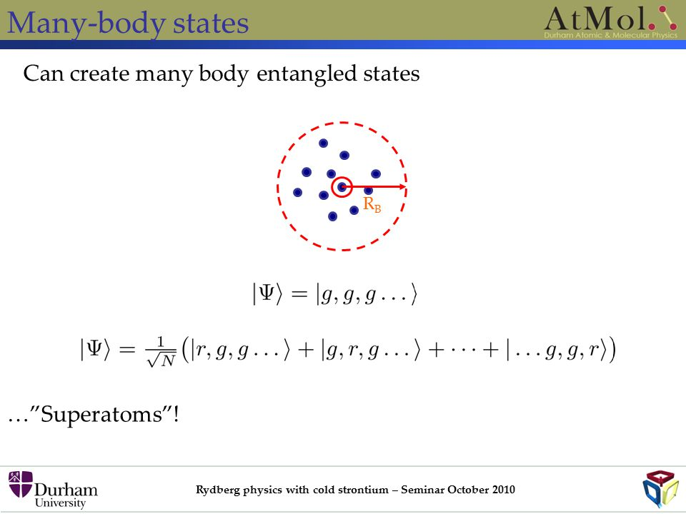 Rydberg physics with cold strontium – Seminar October 2010 Many-body states Can create many body entangled states RBRB … Superatoms !