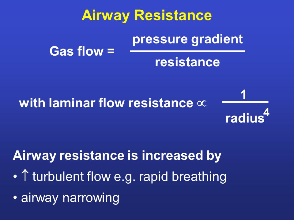 Airway Resistance Airway resistance is increased by  turbulent flow e.g.
