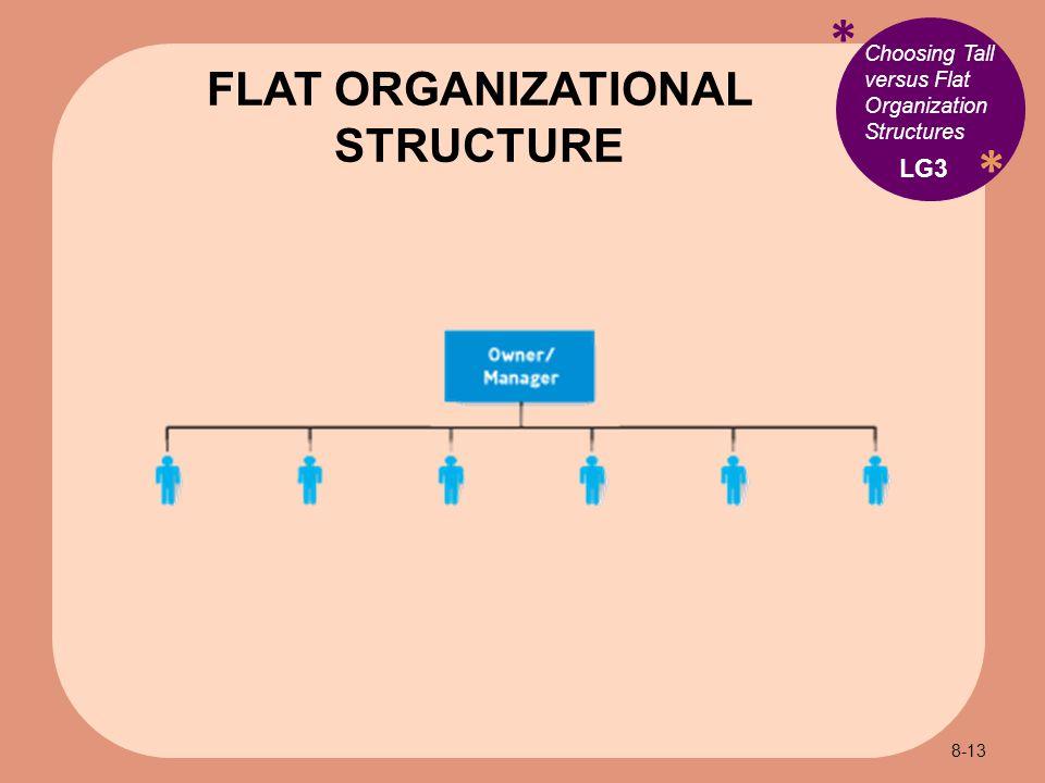 * * Choosing Tall versus Flat Organization Structures FLAT ORGANIZATIONAL STRUCTURE LG3 8-13