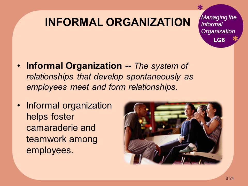 * * Managing the Informal Organization Informal Organization -- The system of relationships that develop spontaneously as employees meet and form relationships.
