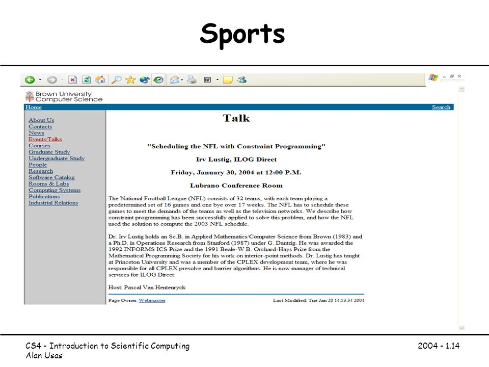 CS4 - Introduction to Scientific Computing Alan Usas Sports