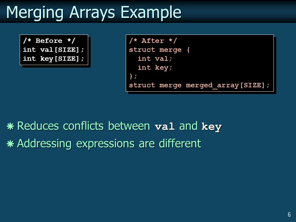 6 Merging Arrays Example  Reduces conflicts between val and key  Addressing expressions are different /* Before */ int val[SIZE]; int key[SIZE]; /* Before */ int val[SIZE]; int key[SIZE]; /* After */ struct merge { int val; int key; }; struct merge merged_array[SIZE]; /* After */ struct merge { int val; int key; }; struct merge merged_array[SIZE];