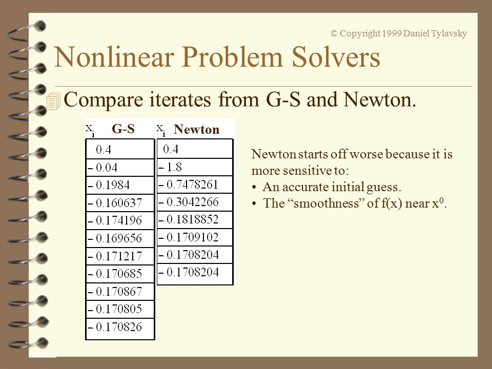 Nonlinear Problem Solvers © Copyright 1999 Daniel Tylavsky 4 Compare iterates from G-S and Newton.