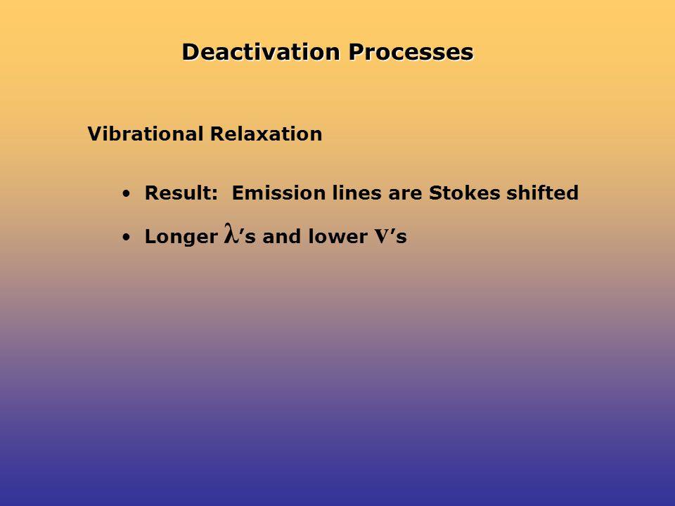 Deactivation Processes Vibrational Relaxation Result: Emission lines are Stokes shifted Longer λ 's and lower v 's