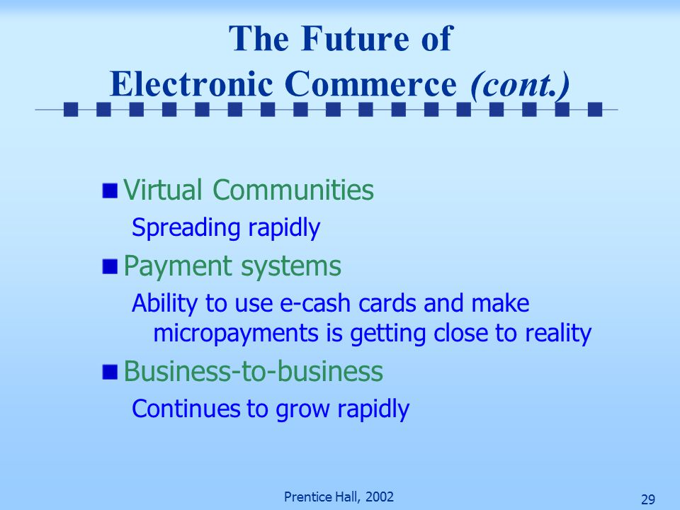 Prentice Hall, The Future of Electronic Commerce (cont.) Virtual Communities Spreading rapidly Payment systems Ability to use e-cash cards and make micropayments is getting close to reality Business-to-business Continues to grow rapidly