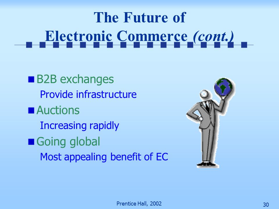 Prentice Hall, The Future of Electronic Commerce (cont.) B2B exchanges Provide infrastructure Auctions Increasing rapidly Going global Most appealing benefit of EC