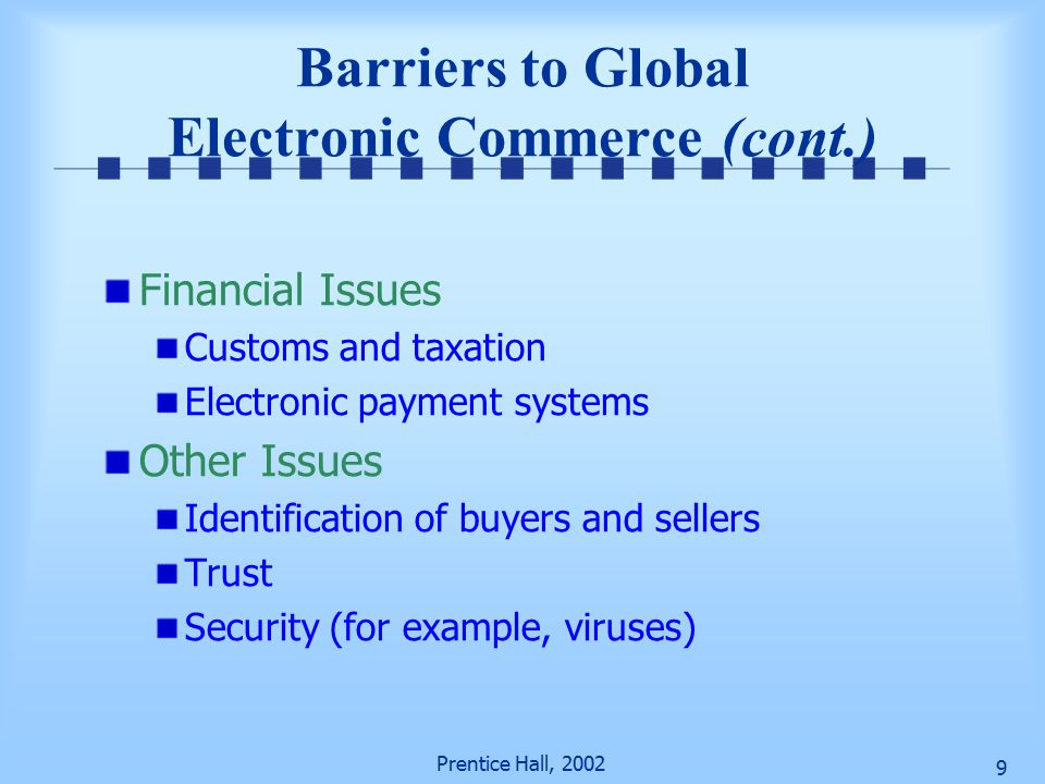 Prentice Hall, Barriers to Global Electronic Commerce (cont.) Financial Issues Customs and taxation Electronic payment systems Other Issues Identification of buyers and sellers Trust Security (for example, viruses)