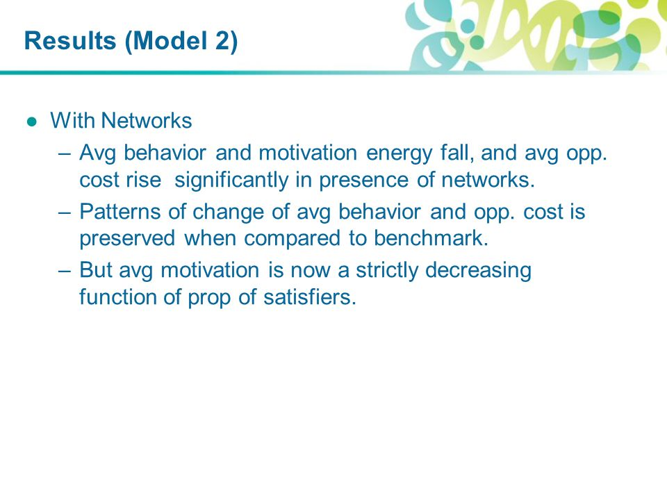 Results (Model 2) ●With Networks –Avg behavior and motivation energy fall, and avg opp.
