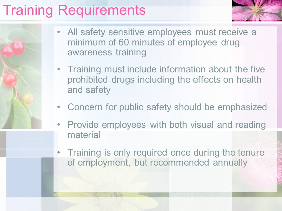 Training Requirements All safety sensitive employees must receive a minimum of 60 minutes of employee drug awareness training Training must include information about the five prohibited drugs including the effects on health and safety Concern for public safety should be emphasized Provide employees with both visual and reading material Training is only required once during the tenure of employment, but recommended annually