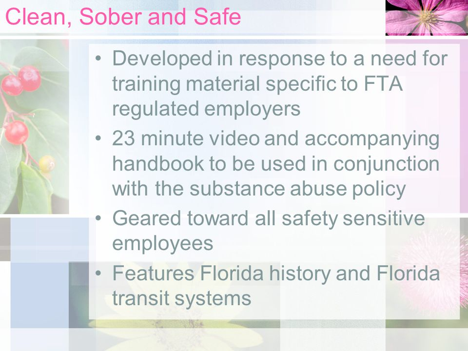 Clean, Sober and Safe Developed in response to a need for training material specific to FTA regulated employers 23 minute video and accompanying handbook to be used in conjunction with the substance abuse policy Geared toward all safety sensitive employees Features Florida history and Florida transit systems